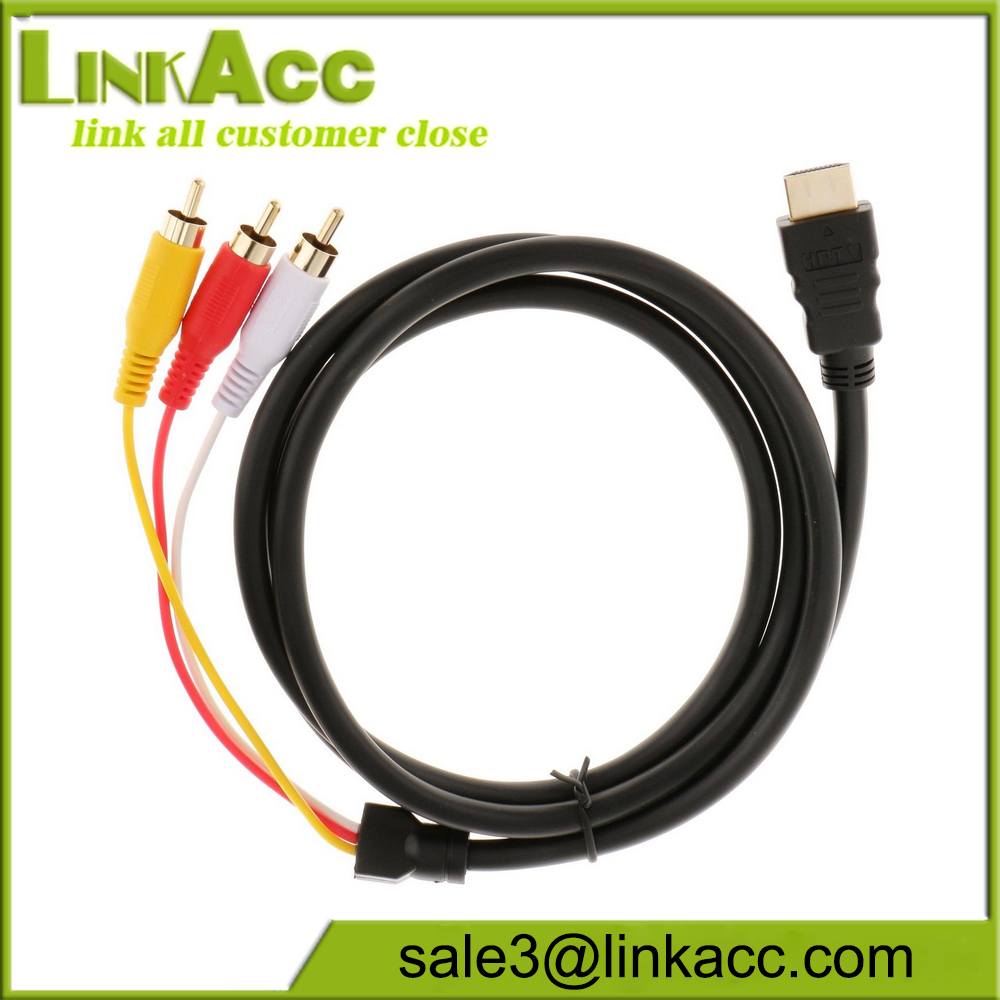 Male To 3 RCA Cable Video Audio HDTV VGA 3 AV Cord Adapter for HDTV