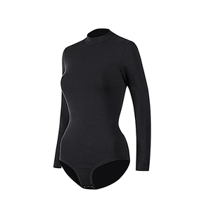 Comfort Mockneck Hooks Black Long Sleeve Sexy Bodysuit Women