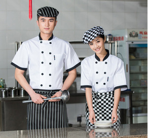 Summer Hot selling customized overalls short sleeve White chef uniform Workwear for unisex A-162
