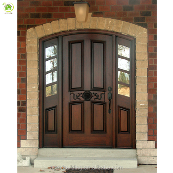 Genial 36 Inch Teak Wood Double Front Mother And Son Door Design With 2 Sidelights
