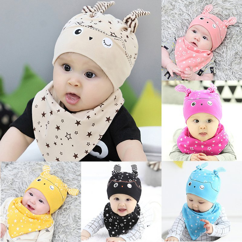 15676470631 2019 Toddler Child Baby Boys Girls Sleep Hat Cap+Saliva Towel ...