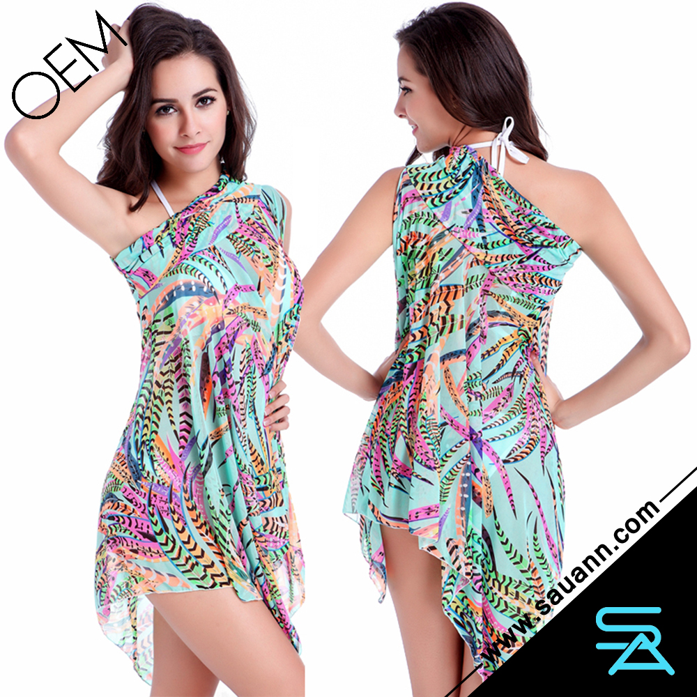 Hot Cute Pastroal Print Slit Irregular Hem Beach Wear Sarong Cover Up