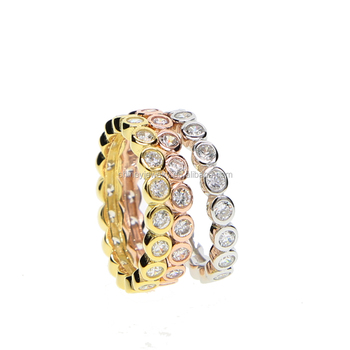 HIGH QUALITY sparking cubic zirconia three color stack stackable wedding engagement band ring