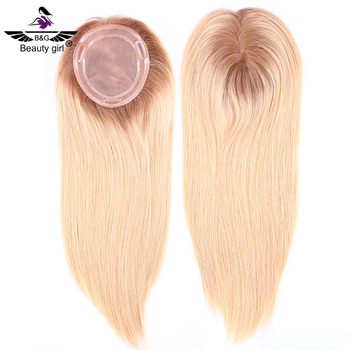 Mono base blonde hair pieces toupee 100% virgin european human hair topper for thinning hair women