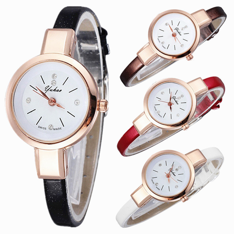 2015 New Small Leather Strap And Dial Design Rose Gold Quartz Watch Simple Casual Dress Wristwatch Charm Female Relogio Feminino