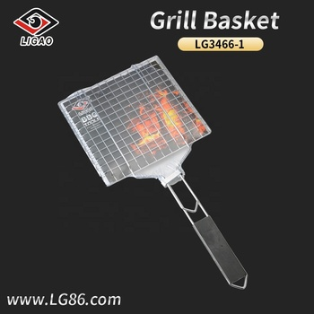 Quite-attractive steak mesh for camp with wood handle