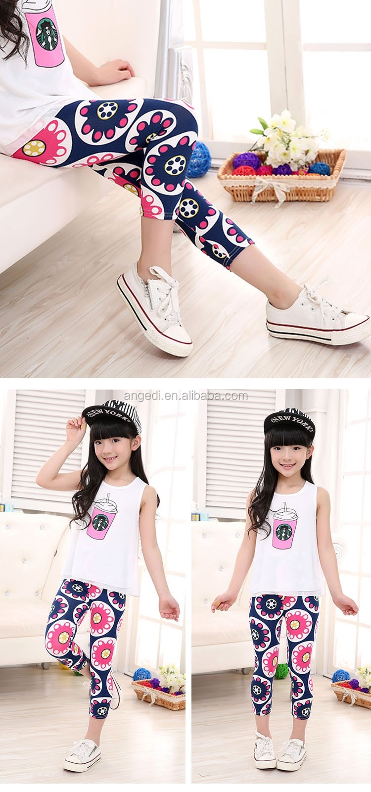 a57cb9d9bc7e0c kids wear new fashion girls capri leggings printed flowers girls floral  printed 3/4 length