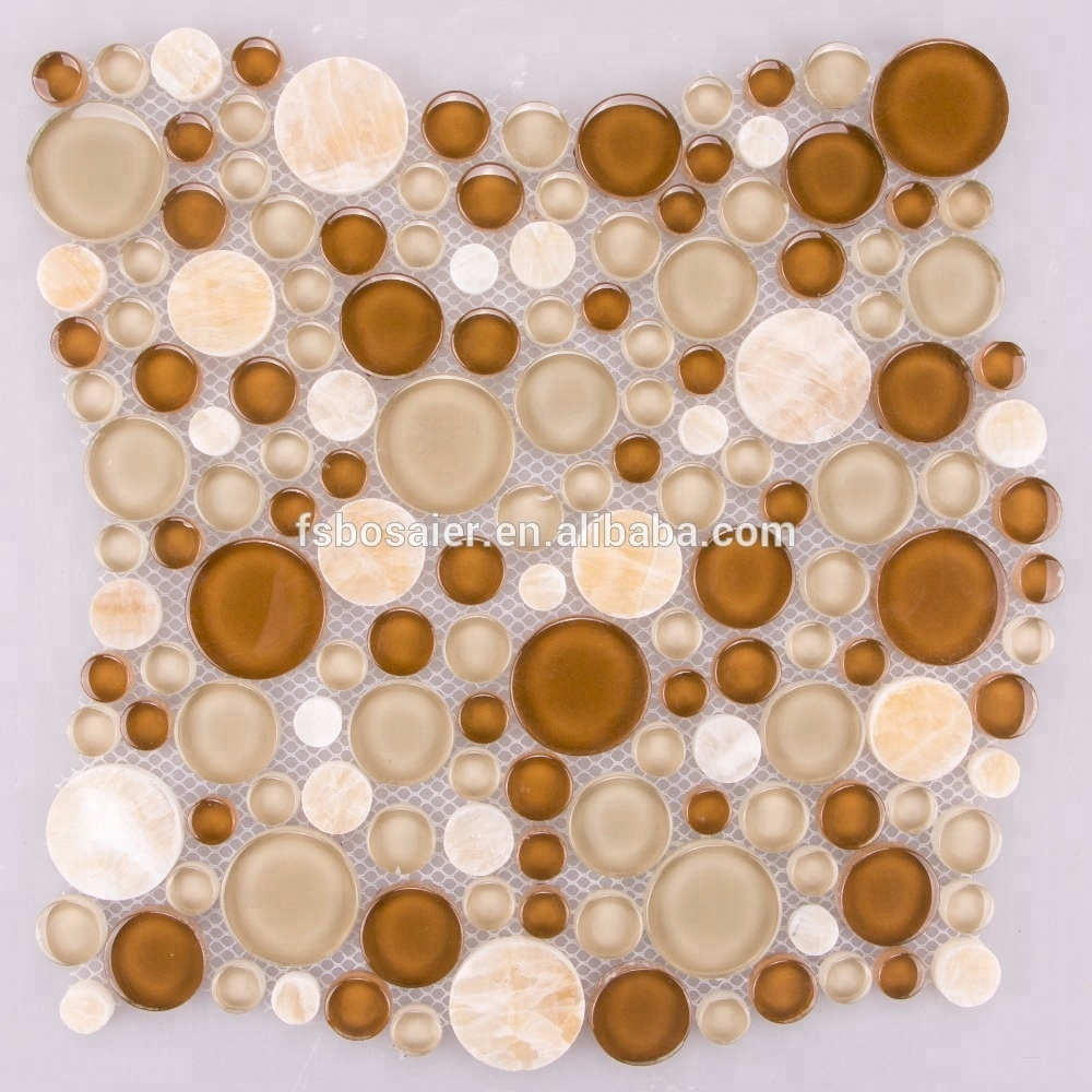 Crystal clear tans and browns clear round waterjet <strong>pebble</strong> glass mosaic <strong>tiles</strong>