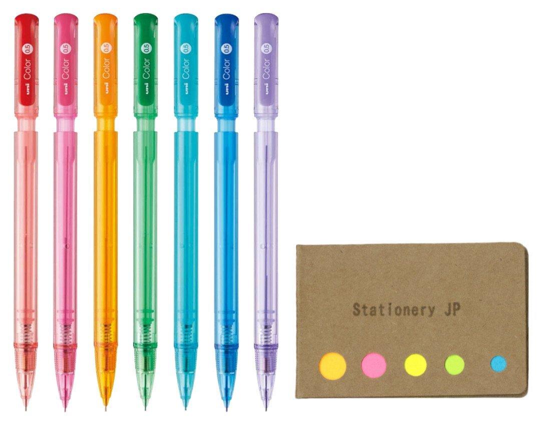 Uni Color Mechanical Pencil 0.5mm 7 Color(Red/Blue/Pink/Orange/Green/Mint Blue/Lavender) Pens, Sticky Notes Value Set