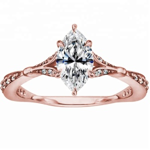 2018 Shenzhen Designs Jewelry Rose Gold Plated Cubic Zirconia 925 Silver Ring