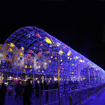 Customized Colorful Fish Tunnel Led Outdoor Lighting Decoration For Wedding  Use