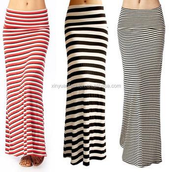 917114424c Women's Rayon/Spandex Striped Long Maxi Skirt,Wholesale Striped Long Maxi  Skirts for Women