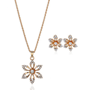 44 + 5 cm 14g Delicate Gold Flower Pendant Cheap Jewellery Jewelry Set