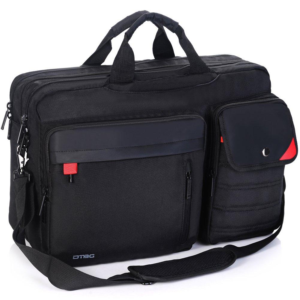 DTBG Nylon Versatile Convertile Spacious Business Casual Travel Laptop Menssenger Briefcase Computer Shoulder Hiking Bag Backpack Daypack For 15.6 - 17.3 Inch Laptop / Notebook/MacBook/Tablet,Black