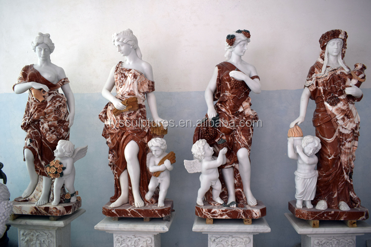 Indoor white marble girl lady and baby boy statues stone sculpture