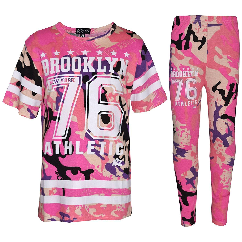 4a87d899a48 Get Quotations · Girls Top Kids Designer Brooklyn 76 Camouflage T Shirt Tops  & Legging Set 7-13Yr