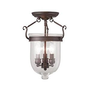 (USA Warehouse) Livex Lighting 5061 Imperial Bronze Jefferson 3 Light Semi-Flush Ceiling Fixture -/PT# HF983-1754426778