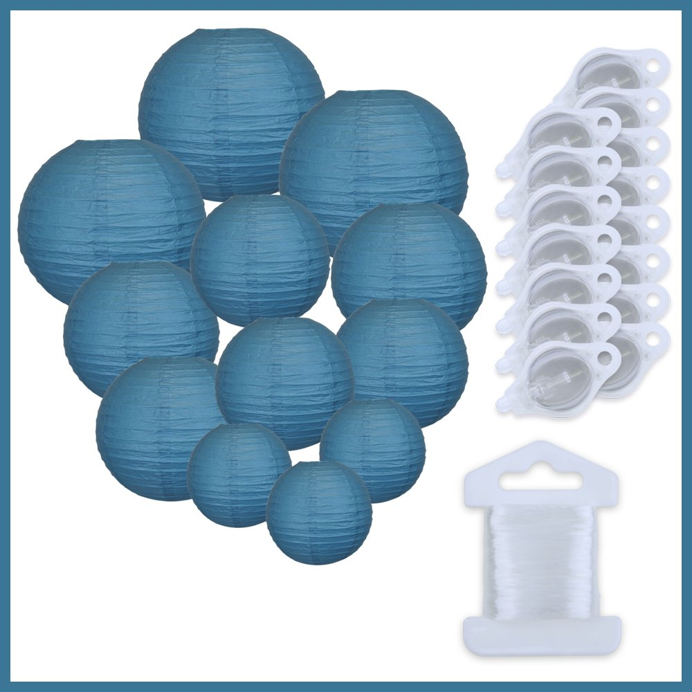 Just Artifacts Decorative Round Chinese Paper Lanterns 12pcs Assorted Sizes w/ 15pc LED Lights and Clear String (Color: Dark Blue)