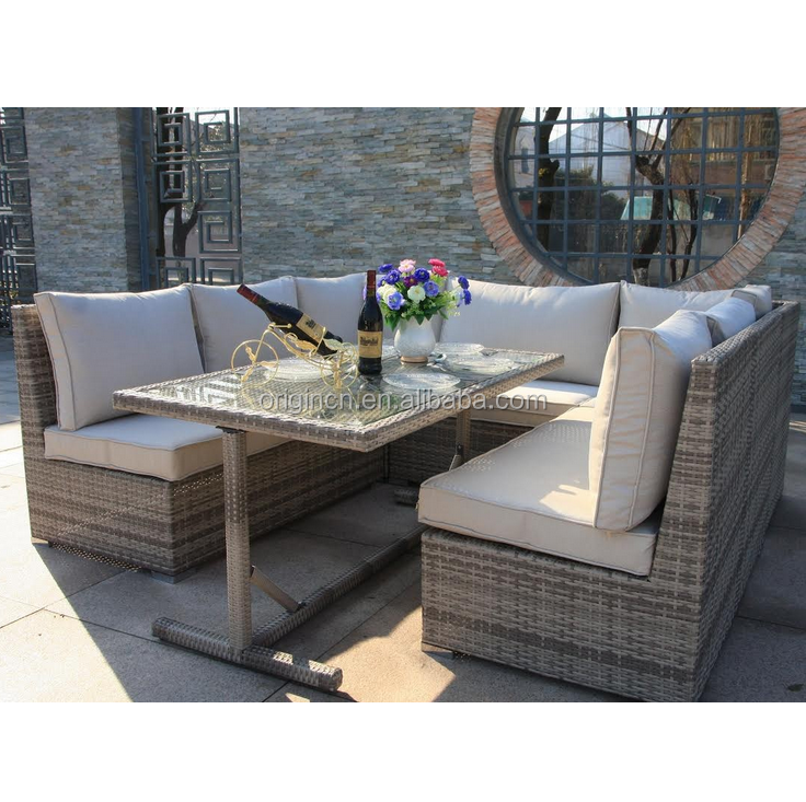 Outdoor entertaining patio dining table and chairs furniture rattan corner sofa set