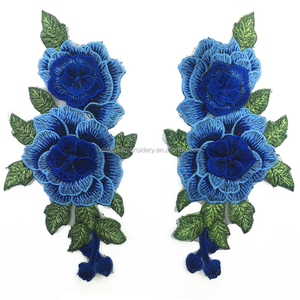 Fashion Rose Flower Patches Iron on Garments/Handbag Embroidery Patch Custom Design