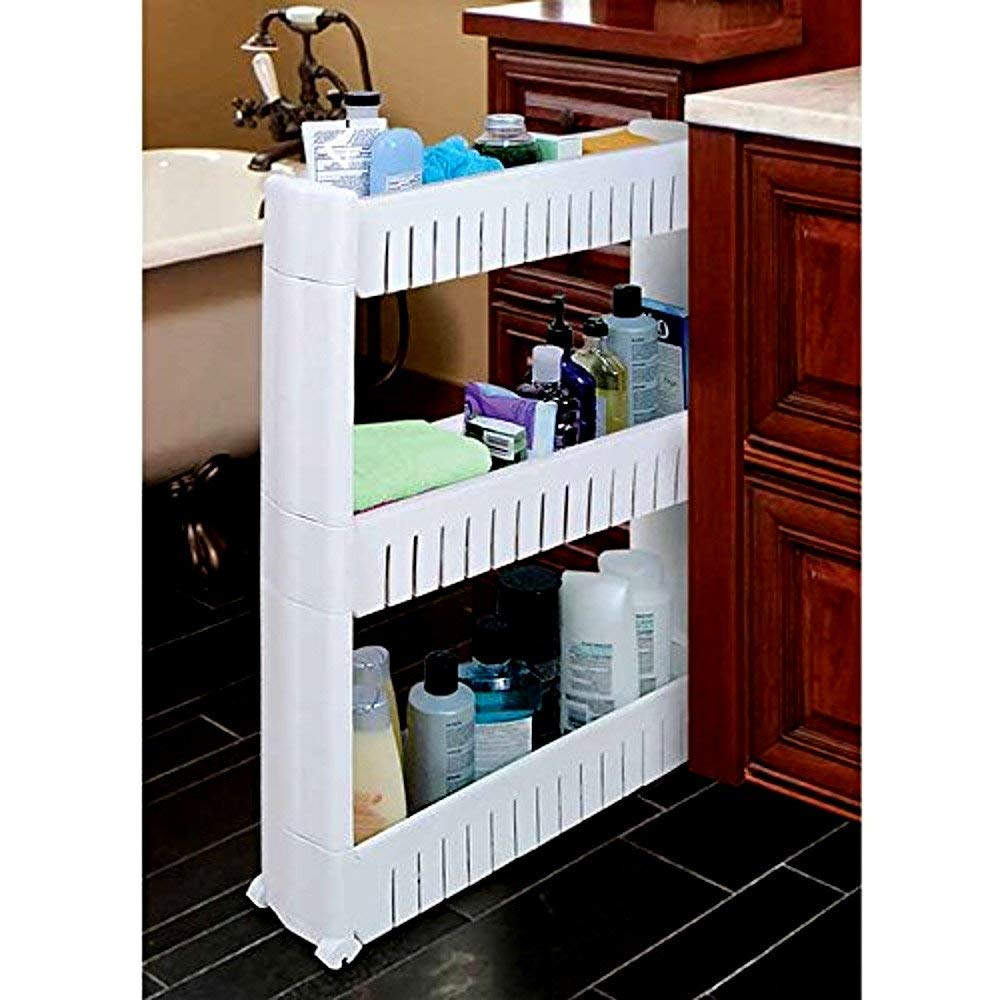 Trademark Innovations 28 Slim Slide Out Storage Cart Tower for Laundry Bathroom or Kitchen