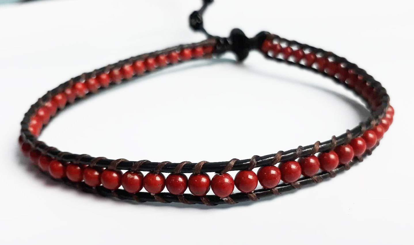 Red jasper stone anklets leather anklets red anklets men anklets women anklets gemstone anklets gift anklets boy girl anklets