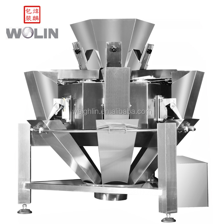 Full Complete food sugar salt seeds packing line 6 head  weigher scale vertical form fill seal roll plastic film pillow bag