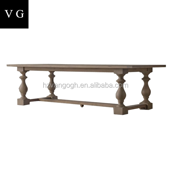 Reclaimed Wood Furniture Antique Table Rustic Banquet 8 Seater French Country Style Dining