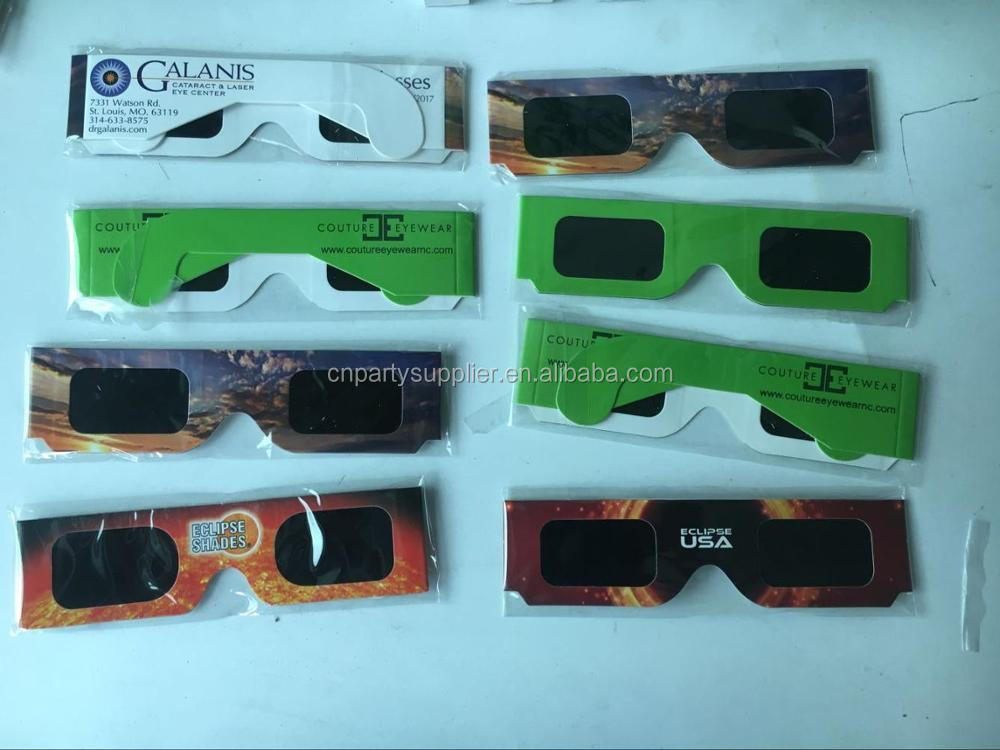 2017 Promotional Custom Paper Solar Eclipse Glasses
