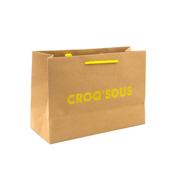 Eco Friendly Kraft Paper Shopping Bags With Handles Customized Logo
