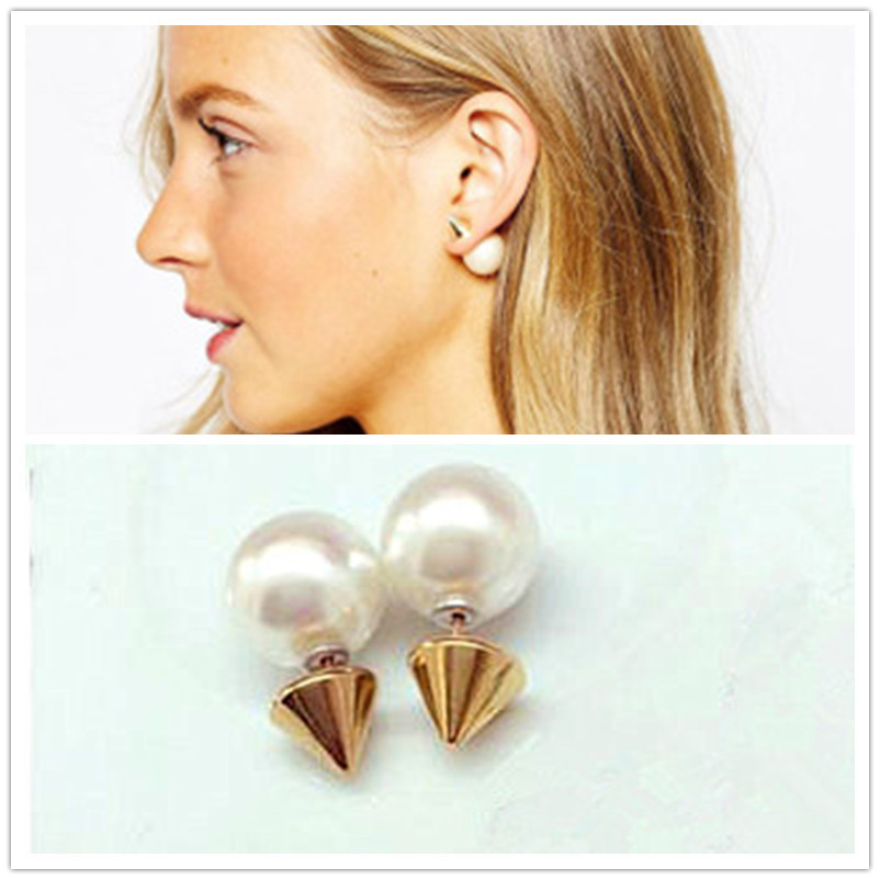 cb6b778f06ca3 New earrings stud earrings double pearl earrings double sided earring with  pearls gold earring for women brincos fasion