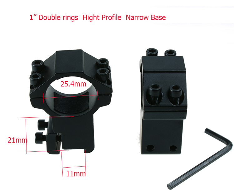 25.4mm high profile narrow base mounts for riflescope