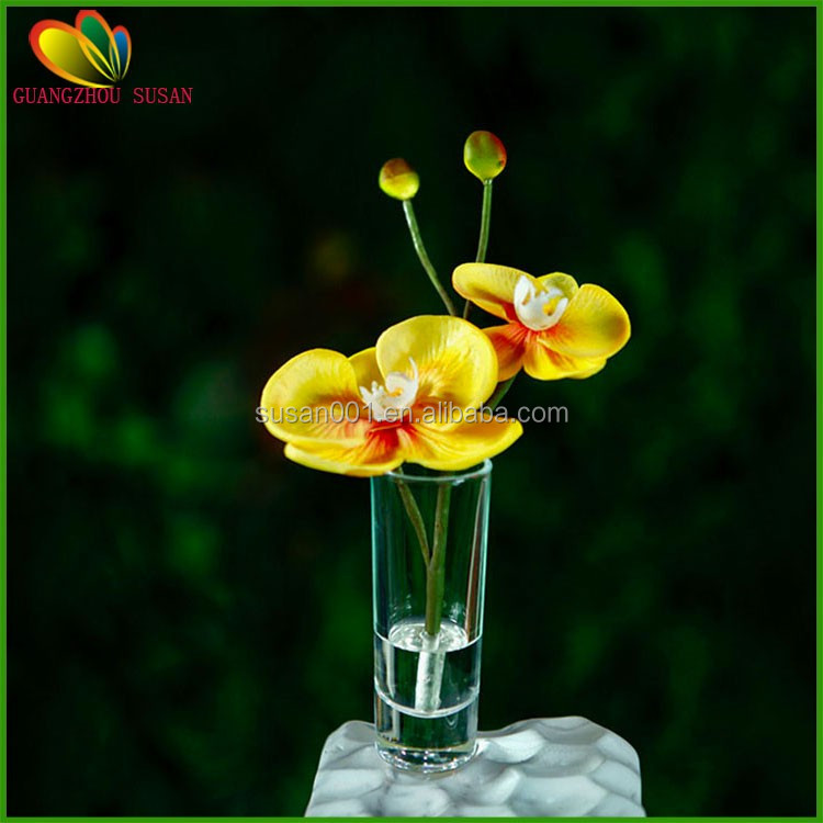 Artificial real touch butterfly orchid glass pot artificial orchid for home and hotel decoration