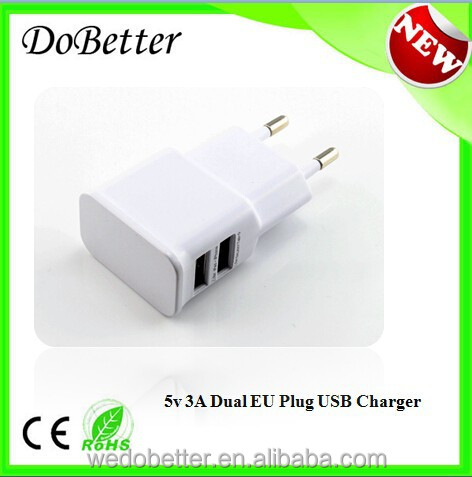 Slimline CE & ROHS Certified 5V 3A EU Wall Charger with USB For Iphone, Mobile Phones