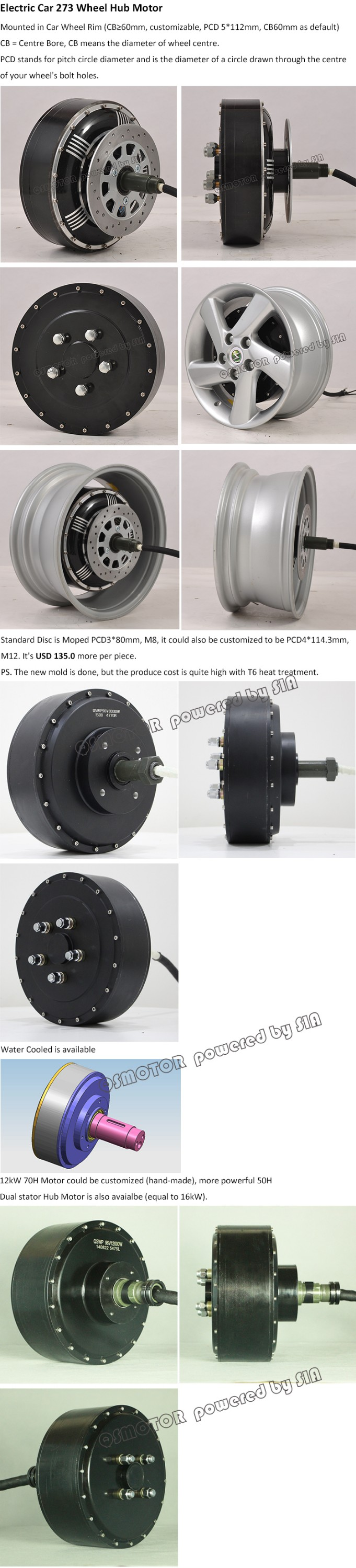 High Power QS Motor 3000W-16000W 273 Brushless DC Electric Car Engine Single Shaft Wheel Hub Motor For Sale