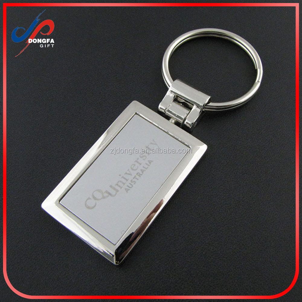 Rectangular custom metal printing logo key tags with 30 mm keyrings