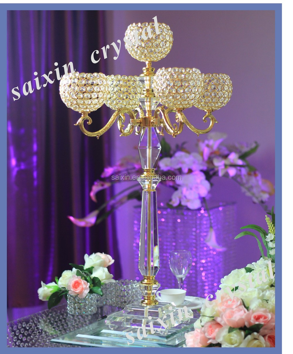 Crystal candelabra flower stand for wedding centerpiece