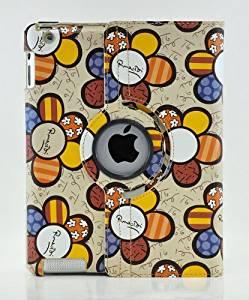 LiViTech(TM) Colorful Sun Flower Design Series 360 Degree Rotating Smart Cover Case for Apple iPad Air, iPad Mini Retina, iPad 2 3 4 (iPad Air, Yellow)