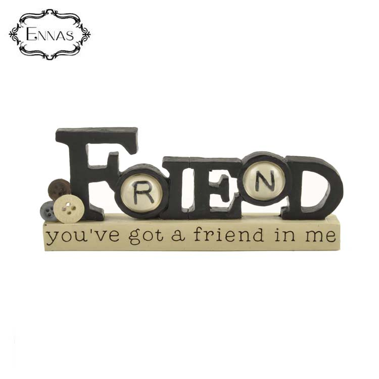 'friend' plaque with buttons creative design gifts folk crafts