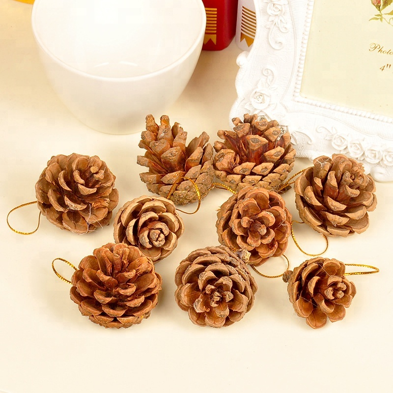Wholesale fashion Christmas tree decorations natural wooden pine cone ornament