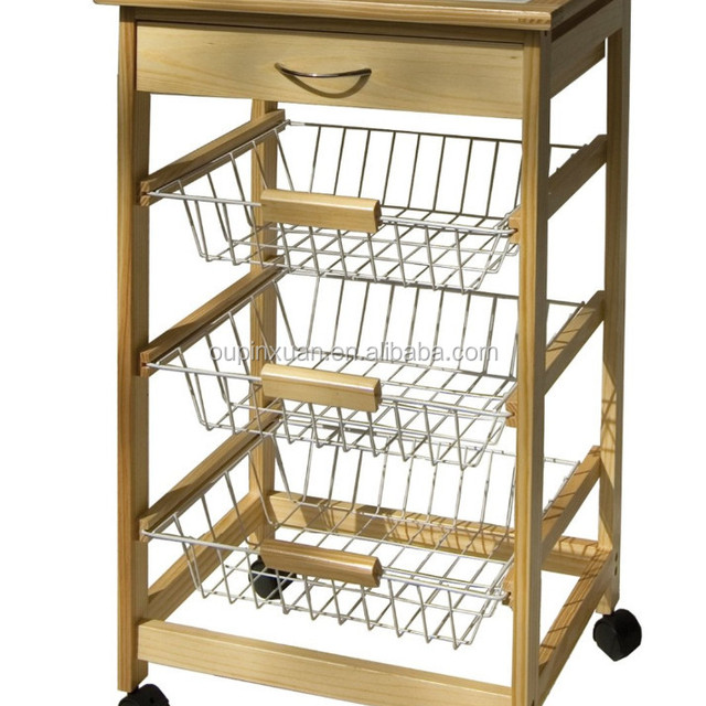 Foldable Kitchen Food Cart Bamboo Trolley With Basket And Drawer