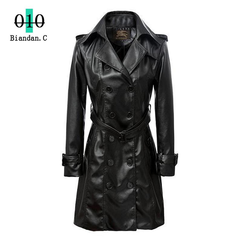 Женщины кожаное пальто 2015 длинные PU кожаная одежда женщин осенью верхняя одежда Большой размер пальто женщин кнопки кожаная куртка