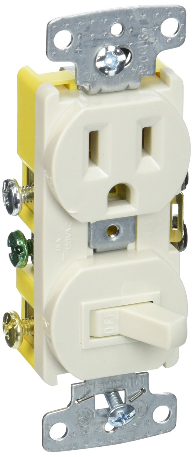 Cheap Single Pole Light Switch Wiring Find Ivory Toggle Get Quotations Hubbell Systems Rc108la Tradeselect Combination With Self Grounding And Side