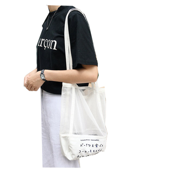 Factory wholesale Korean embroidery fine mesh gauze Beach Bag Shoulder Bag hollowed out shopping bags