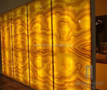 Backlit onyx slab semi precious marble translucent honey for Marmol traslucido