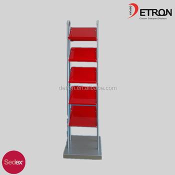 Hot Sale Floor Standing Metal Frame Acrylic Magazine Display Stand ...