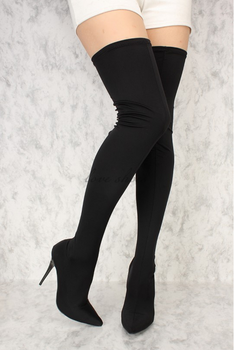 d32d5d30a5e Women Black Stretchy Lycra Pointy Toe Sexy Thigh High Heel Boots Long Boots  Women - Buy Sexy Thigh High Boots Product on Alibaba.com