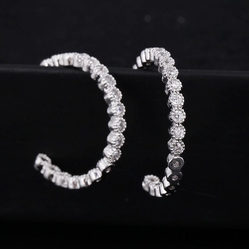 Simple Women's White Gold Plated Cubic Zirconia Inside Out Round Hoop Earrings Silver Hoops and Loops