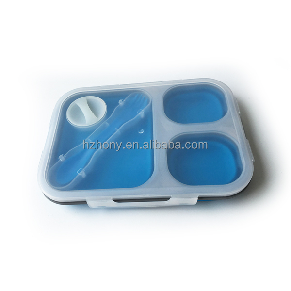 3 compartments Eco-friendly 100% food grade Silicone food container, 3 compartment bento box portion control container set