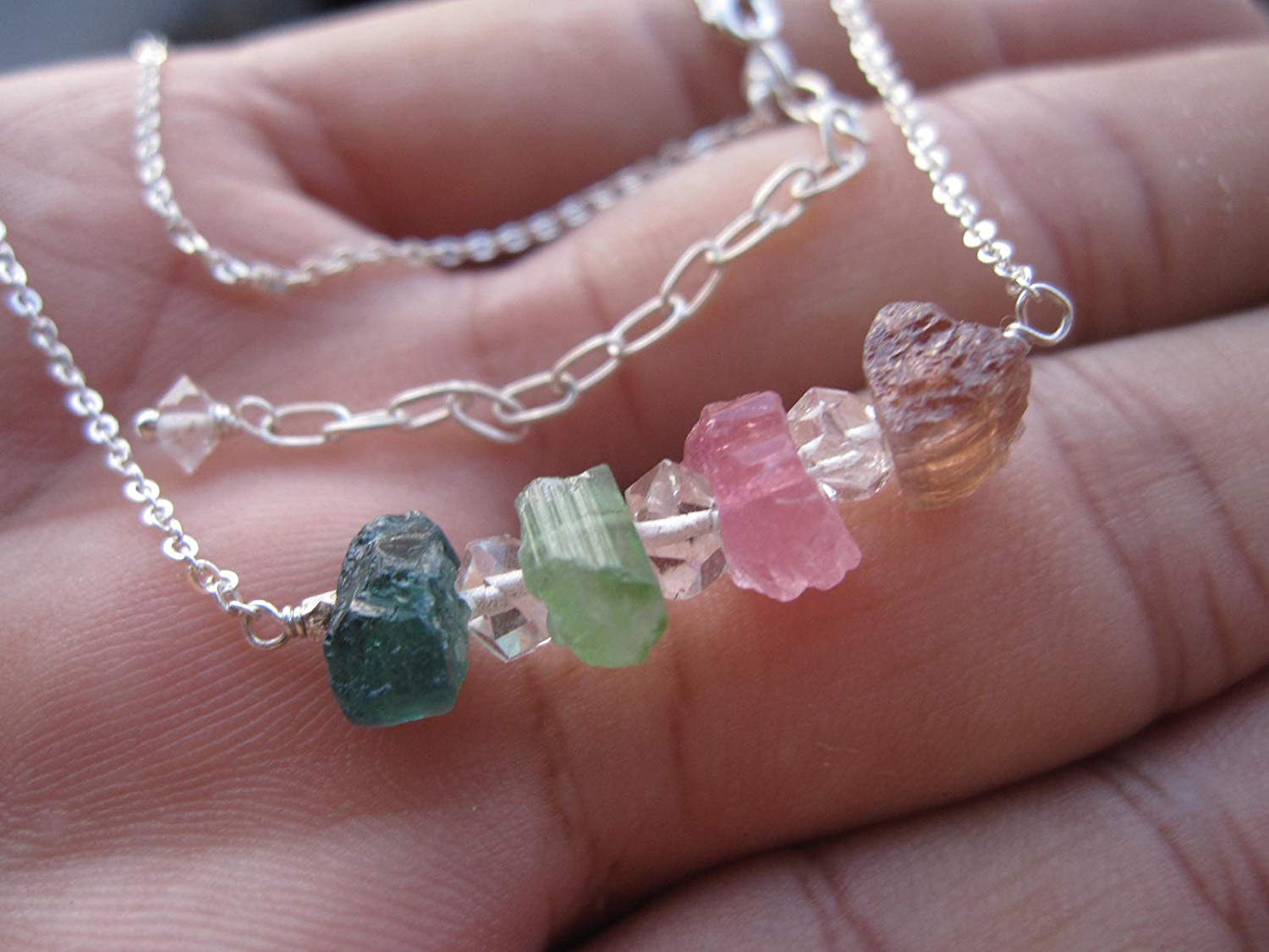 "Raw Tourmaline necklace,Multi color Tourmaline,Herkimer diamond necklace,925 Sterling Silver Chain extender 1 inch - Size 16"" NTH"